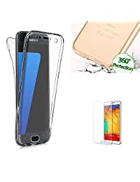 Galaxy A5 2017 Case with Free Screen Protector,Funyye Clear [360 Degree Protective] Full Coverage Front and Back Non-slip Shock Absorbent Soft Flexible TPU Gel Protective Cover for Samsung Galaxy A5 (2017 Model)-Transparent