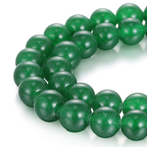 BRCbeads Natural 2.0mm Large Hole Green Dyed Jade Gemstone Loose Beads Smooth Round 10mm Crystal Energy Stone Healing Power for Jewelry (Green Jade Gems)
