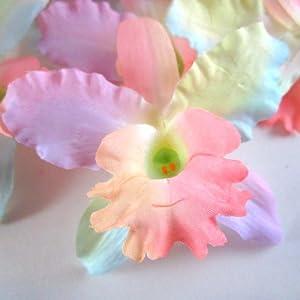 """(8) Light Rainbow Hawaiian Cattleya Silk Flower Heads - 3.5"""" - Artificial Flowers Heads Fabric Floral Supplies Wholesale Lot for Wedding Flowers Accessories Make Bridal Hair Clips Headbands Dress 64"""