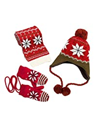 Samber Knitted Hat +Scarf + Gloves 3 pcs Set Winter Fleece Accessory for Kids(Wine Red/S)