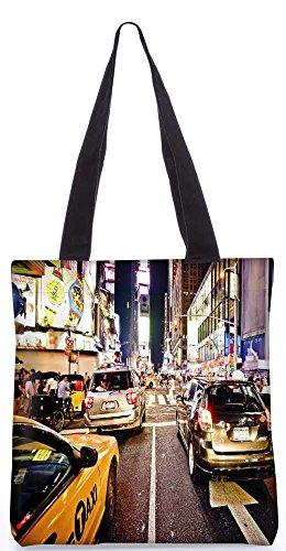 """Snoogg New Yorker Time Square Bei Nacht Einkaufstasche 13,5 X 15 In """"Shopping-Dienstprogramm Tragetasche Aus Polyester Canvas"""