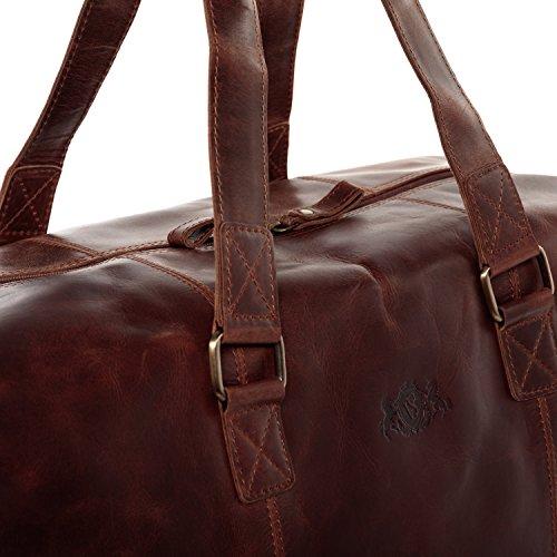 SID & VAIN® sac de voyage YALE - grand fourre-tout besace week-end - sac sport bagages cabine à main homme femme châtain clair cuir N23JSX9