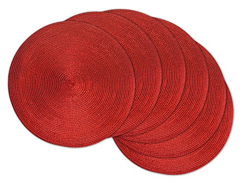 (DII Round Braided & Woven, Indoor/Outdoor Placemat or Charger, Set of 6, Metallic)