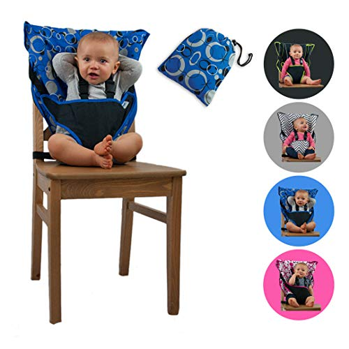 Cozy Cover Easy Seat Portable High Chair (Blue) - Quick, Easy, Convenient Cloth Travel High Chair Fits in Your Hand Bag So That You Can Have It With You Everywhere For a Happier, Safer Infant/Toddler from Cozy Cover