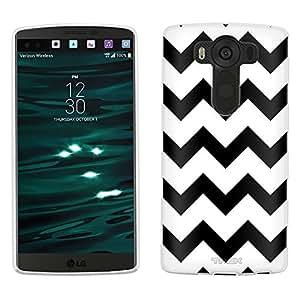 LG V10 Case, Snap On Cover by Trek Chevron Black on White Case