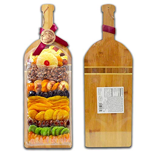 (Dried Fruits Gift Basket, Holiday Nuts - Bamboo Wine Board, Gourmet Food Since 1960 (34oz), Christmas Gift, Office Gift)