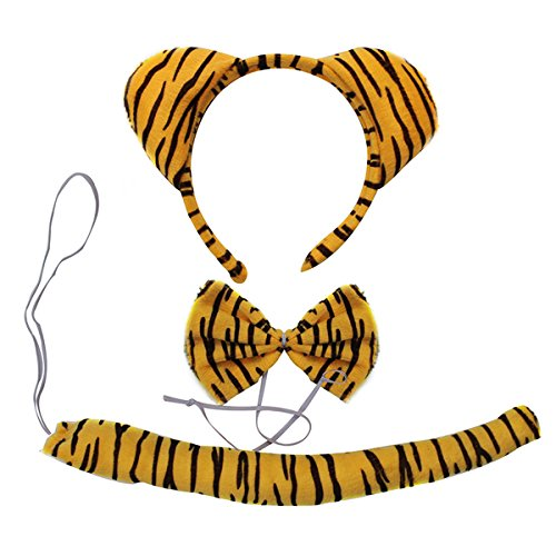 Kids Animals Dalmatian Mouse Wolf Tiger Antlers Party Costume Christmas Headband (Yellow Tiger) -