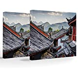Canvas Print,Ancient China Decorations,Home Decoration Stretched Gallery Canvas Wrap HP Print & Ready to Hang,Roofs Houses Ancient Chinese Tiles Scenic View Touristic Town Decorative