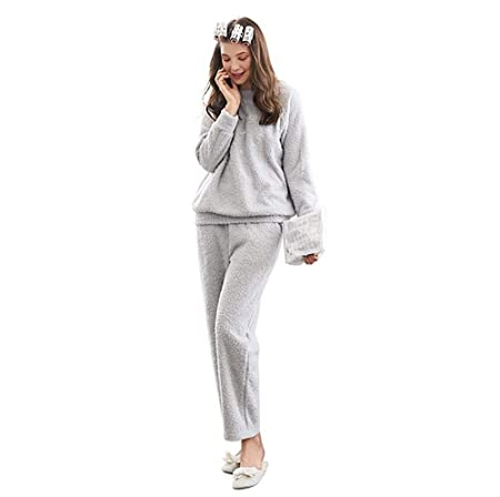 A~LICE&SY& Pijamas Mujer Invierno Franela Calor Lindo Cuello ...
