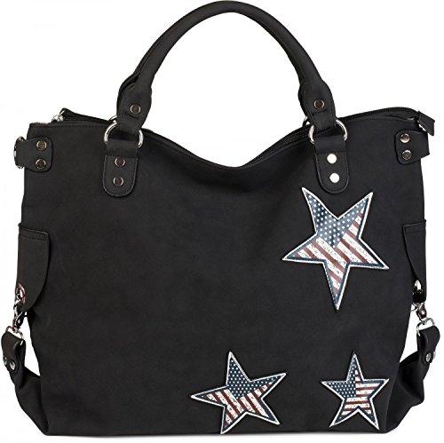 styleBREAKER borsa con manici canvas con applicazione a stella a tema USA, borsa per lo shopping, borsa a tracolla, borsa, unisex 02012116, colore:Nero Nero