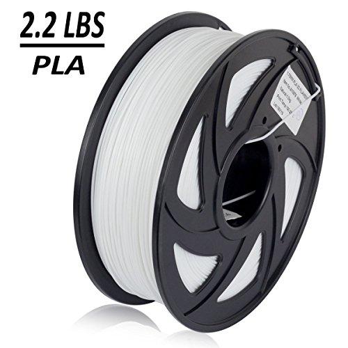 Dikale PLA 3D Printer Filament - 1KG(340m/1115ft) 1.75mm, Dimensional Accuracy +/- 0.02 mm, 1KG Spool 1.75 mm, White