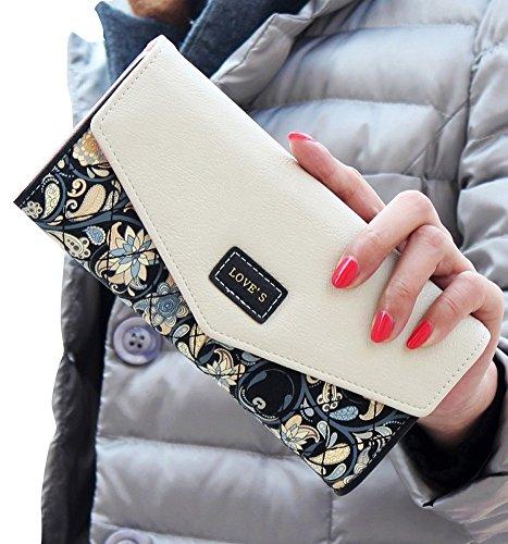Women PU Leather Floral Print Shoulder Bag (Black) - 9
