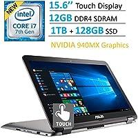 2017 Newest ASUS 15.6 Touchscreen 2-in-1 Full HD (1920 x 1080) Laptop PC, Intel Core i7-7500 Processor, 12GB RAM, 1TB + 128GB SSD Hard Drive, Bluetooth, HDMI, Nvidia 940MX Graphics, Windows 10