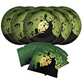 Halloween Creepy Haunting Dark Night Paper Party Pack-Serve 16-16 Count 10 Inches Big Dinner Plates, 16 Count Napkins Paper