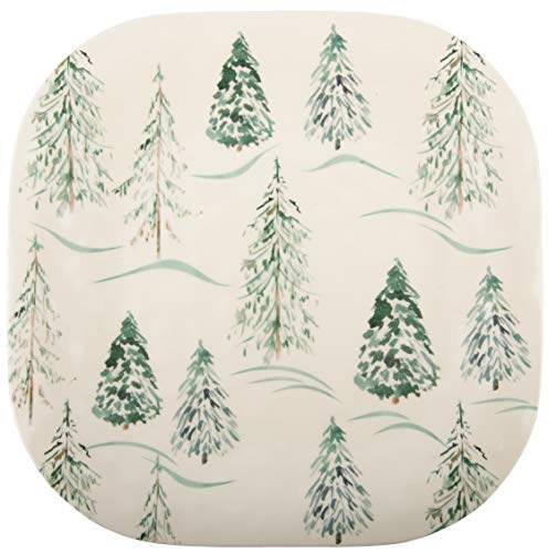 Melange 608410092013 6 -Piece 100% Melamine Salad Plates Christmas Collection-Wild Xmas Trees Shatter-Proof and Chip-Resistant|, 10.5