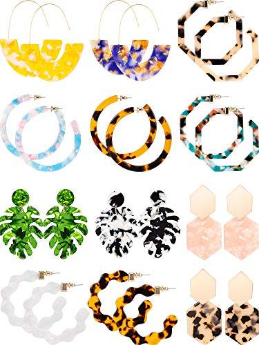 12 Pairs Acrylic Hoop Earrings Tortoise Earrings Mottled Statement Earrings Polygonal Drop Earrings for Women Girls (Style 2)