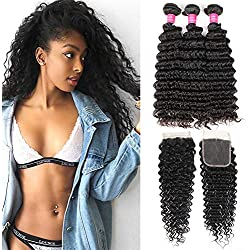 Brazilian Deep Wave Bundles With Closure Human Hair 3 Bundles With Closure Free Part Deep Curly Brazilian Hair Weave Bundles Laritaiya hair (18 20 22+16closure)