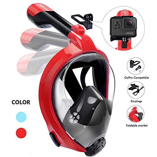 HENGBIRD Full Face Snorkel Mask, New Foldable 180 Panoramic View Free Breath Snorkeling Scuba Mask with Detachable Camera Mount for Adults & Kids, Anti-Fog, Anti-Leak -