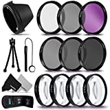 PRO 52MM Lens Filters + 52mm Lens Hood KIT including: 52mm Close-up Macro Filters (+1 +2 +4 +10) + 52mm HD filters (UV CPL FLD) + 52mm ND Filters (ND2 ND4 ND8) + 52mm Hard / Soft Lens Hood + MORE