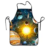 Our Solar System Kitchen Cooking Apron For Women And Men - Adjustable Neck Strap - Restaurant Home Kitchen Apron Bib For Cooking, Grill And Baking, Crafting, Gardening, BBQ