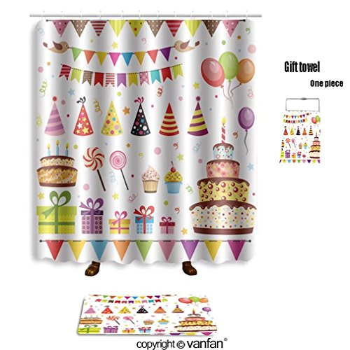 Paris Damask Basic Party Pack (vanfan bath sets with Polyester rugs and shower curtain set of vector birthday party elements eps 100 shower curtains sets bathroom 40 x 72 inches&23.6 x 15.7 inches(Free 1 towel and 12 hooks))