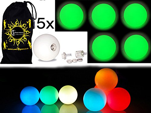 3X LED-Licht bis Kugeln Jonglierb/älle 3er Set Reisetasche Rot Profi LED b/älle
