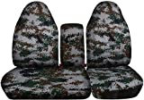 1997-2000 Ford F-150 Camo Truck Seat Covers (Front 40/60 Split Bench) with Opening Center Console/Solid Armrest: Green Digital Camouflage (16 Prints) 1998 1999 F-Series F150