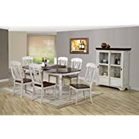 Baxton Studio Newman Chic Country Cottage Antique Oak Wood and Distressed White 7-Piece Dining Set with 5-Feet Extendable Dining Table