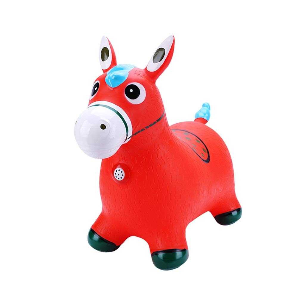 Xyanzi kids toys Jumping Horse, Blue Horse Hopper Pump Included Space Hopper, Ride-on Bouncy Animal Hopper, Red/Green for Toddlers and Kids (Color : Red) by Xyanzi kids toys