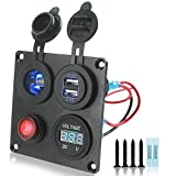 Iztor Dual 4.2A USB Charger + Digital Blue Voltmeter + 12V led Power Socket Outlet + ON-Off Button Switch 4 Hole Aluminum Panel for Car Boat Marine Truck RV ATV Vehicles GPS Mobile Phone