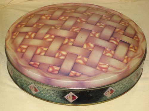 Vintage Large 10 1/2 x 2 Inch APPLE PIE Cookie Biscuit Candy Tin