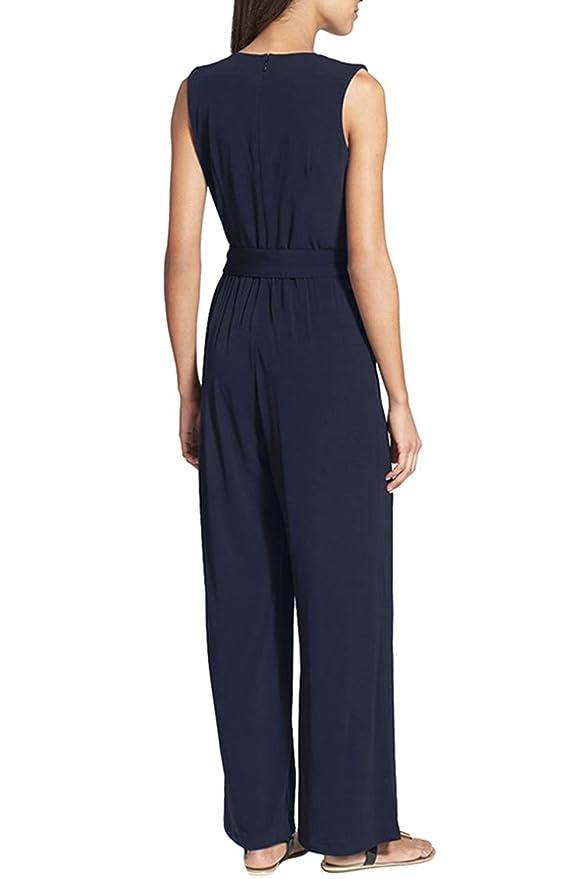 5f47ce40d41 Amazon.com  KAKALOT Women s Plus Size V Neck Ruched Sleeveless Jumpsuit  Romper  Clothing