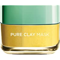 L'Oreal Paris Pure Clay Yellow Face Mask with Yuzu Lemon Cleanses and Evens Skin Tones, 50ml