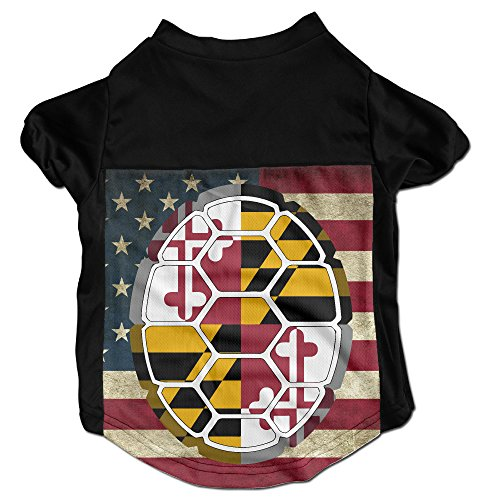 [Maryland Flag Shell Costumes, Clothing, Shirt, Vest, T-shirt, Puppy Pet Dog Cat Fashion 100% Polyester Fiber Tee Gift For Any Animal Fan Lovers Black] (Greek Cat Costume)