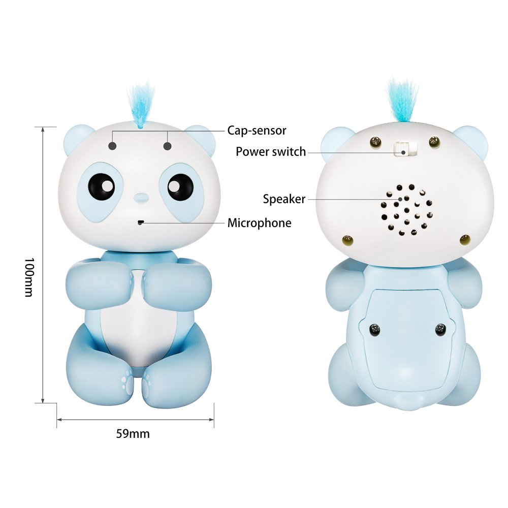 Finger Toy Pets Baby Panda Electronic Interactive Toy Robot Pet Baby Children Kids Toy Touch Sensor (#A49,Blue)