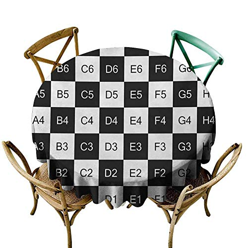"KaMiao Dinning Tabletop Decoration Checkers Game,Monochrome Chess Board Design with Tile Coordinates Mosaic Square Pattern,Black White Diameter 60"" Patterned Round Tablecloth"