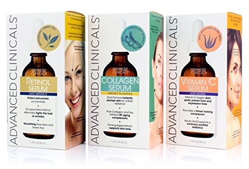 Advanced Clinicals Complete Skin Care Set with Anti-Aging Retinol Serum, Plumping Collagen Serum, and Vitamin C Serum for wrinkles, dark spots, and uneven skin tone. Three large 1.75oz bottles ()