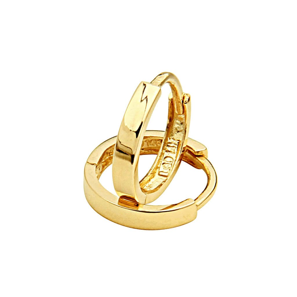 14k Yellow Gold 2mm Thickness Huggie Earrings (11 x 11 mm)