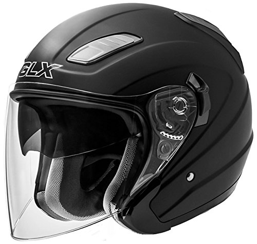 GLX Open Face Scooter Chopper Pilot Moped Vespa Motorcycle Helmet 3/4 Dual Visor DOT Approved + Extra Shields (Matte Black, (Dot 3/4 Helmet)