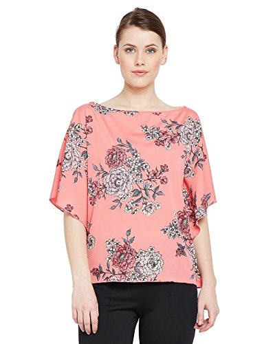 oxolloxo Women #39;s Polyester Short Sleeve Floral Top  Pink