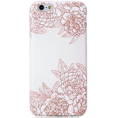 iPhone 6 Flower Case, VIVIBIN Cute Champagne Florals for Women Girls Clear Bumper Best Protective Soft Silicone Rubber Glossy TPU Cover Slim Fit Best Phone Case for iPhone 6/iPhone 6s