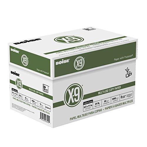BOISE X-9 MULTI-USE COPY PAPER, 8 1/2'' x 11'', 3 Hole Punch, 92 Bright White, 24 lb., 5000 Sheets/Carton, 40 Cartons/Pallet