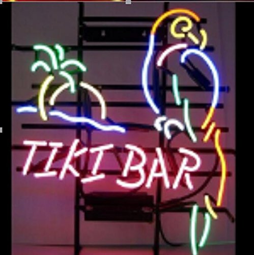 Tiki Bar Neon Art Sign 17×14 inch, Real Glass Neon Signs
