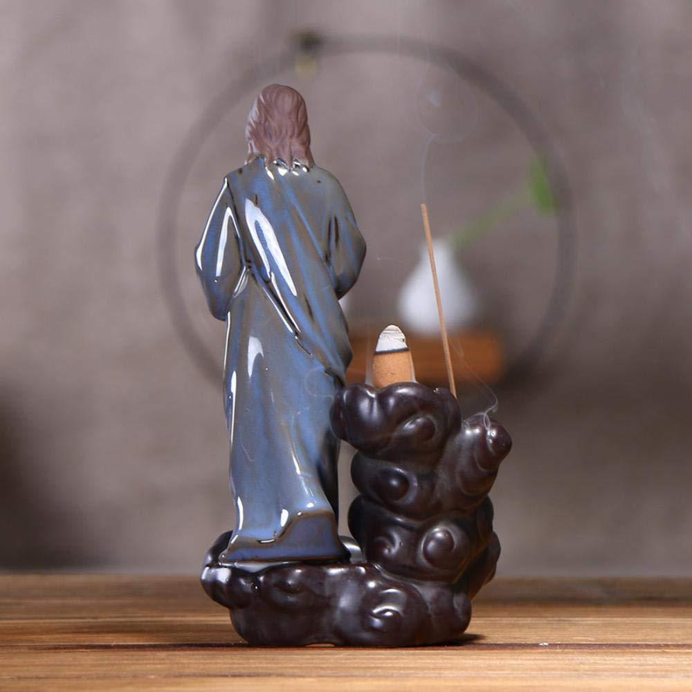 Yhauto Ceramic Backflow Incense Burner Meditate Buddha Backflow Cone Sticks Handmade Censer Incense Holder Indoor 10 Cone Incense Free Shape 2