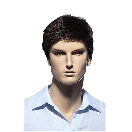 ZCM Peluca para Hombre, Moda Natural Hermosa Peluca de Pelo castaño Corto y Recto