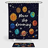 iPrint Quote Shower Curtain Floor Mat Combination Set Outer Space Planets Star Cluster Solar System Moon Comets Sun Cosmos Illustration decoration daily use Multi