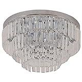 HOMCOM Round Crystal Ceiling Lamp 7 Lights Chandelier Mounted Fixture For Living Room Dining Room Hallway Modern