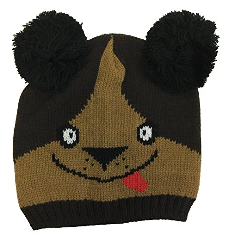 Kids Knit Hat for Baby Boy or Girl with Fun Monsters and (Knit Dog Ear Hat)