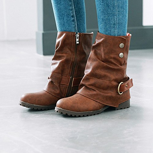 Buckle Fur DoraTasia Slouch Short Leather Dark Block Calf Side Women Boots 's 4 Slouchy Brown Heel Chunky Concise Mid 1SrUBYSq