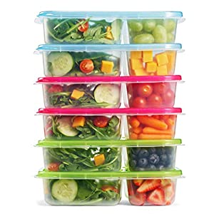 Fit & Fresh Meal Prep Container Set with Lids, Set of 6, Portion Control, Microwave/Dishwasher/Freezer Safe 51ccgsOzC8L